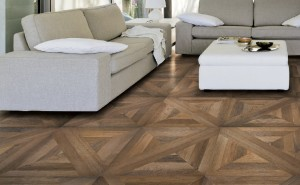 "Antiqued parquet wood look in 30"" x 30"", patterned, porcelain tile in family room"